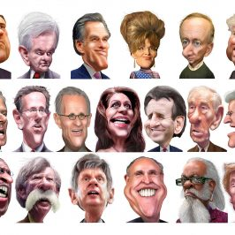 caricatures of the 2012 republican candidates for US president