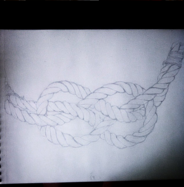 pencil sketch of rope