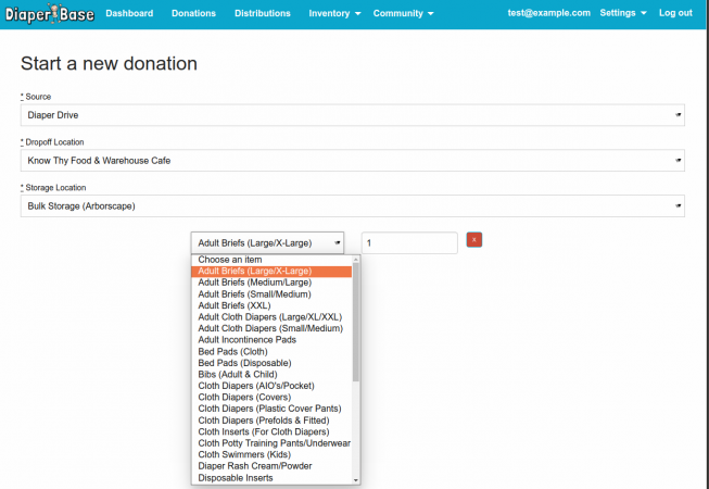 Donations page in the 2017 enhancement