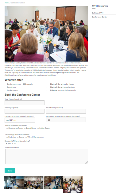 Screenshot of the contact form for the Conference Center