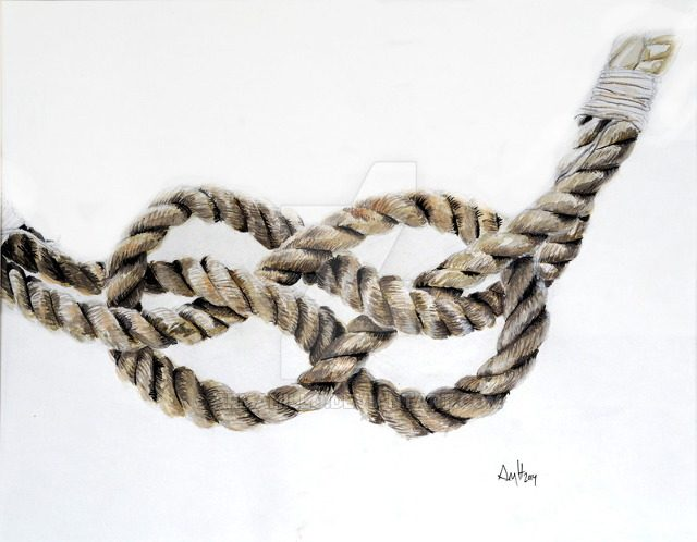 Watercolor painting of a rope tied in a carrick bend knot