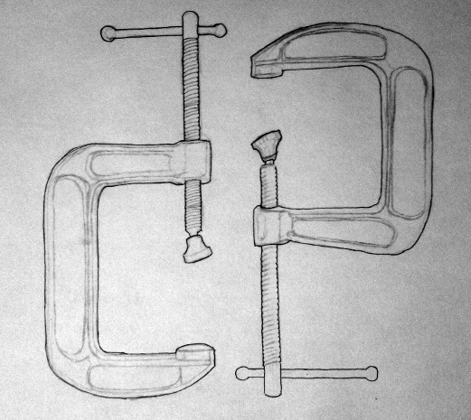 work in progress of a sketch of 2 C-clamps