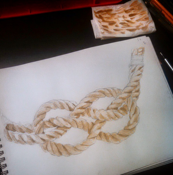 painting of knot, preliminary