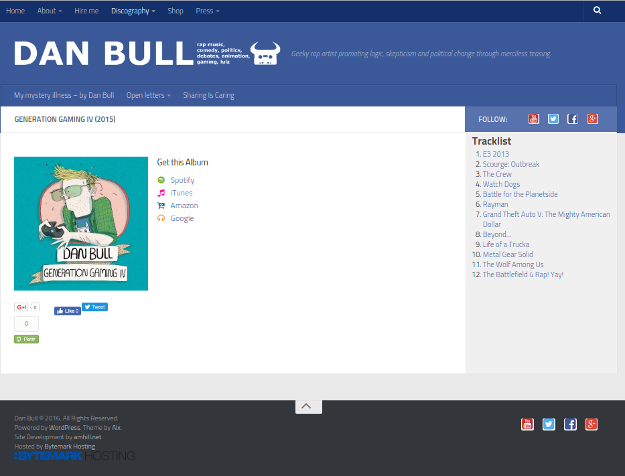 Screenshot of the Discography page on itsdanbull.com