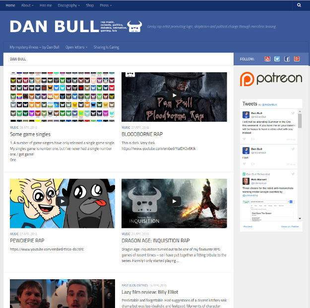 Screenshot of the homepage for itsdanbull.com