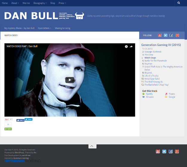 Screenshot of the Track template for itsdanbull.com