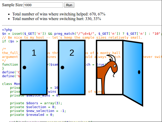 Screenshot of the Monty Hall Simulator sourcecode