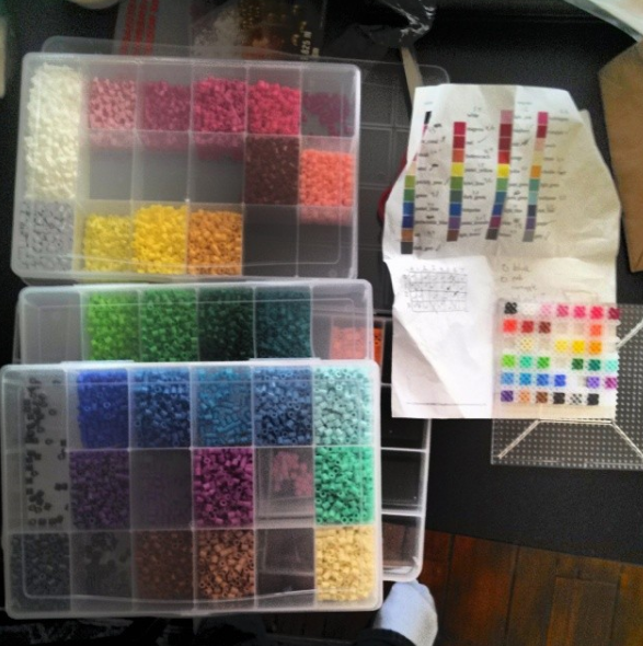 My bead collection and the reference chart I use with it