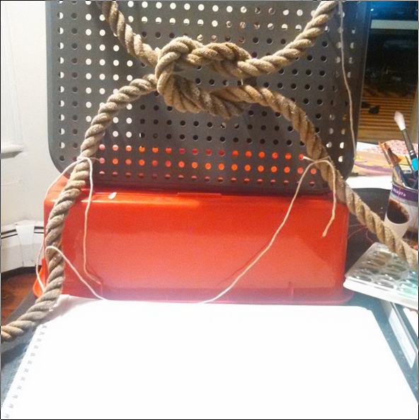 This is the rig I used to do the painting. The rope is nautical rope and is binded to the lattice behind it using twine, this keeps the rope in place so that the shadows are consistent across sessions, given similar lighting