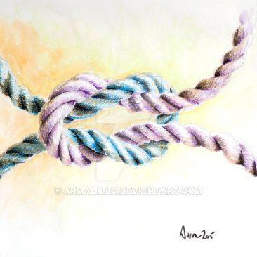a square knot, ropes blue and purple