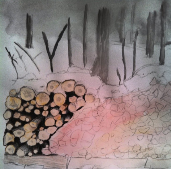 painting of a woodpile