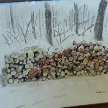 framed painting of a woodpile